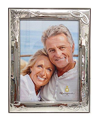 Cornice Anniversario Matrimonio, 25°, 50°, con Fedi | Argento bilamina | 2R Argenti (18x24 V)