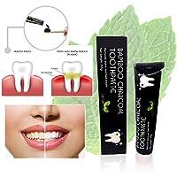 Pasta de dientes de carbón activado para blanquear los dientes con carbón de bambú, extracto de menta, pasta de dientes negra de calidad premium
