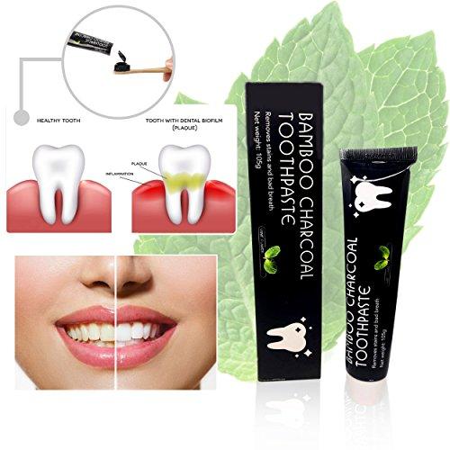 Aktivkohle-Zahnpasta für Zahnaufhellung mit Bambuskohle, Pfefferminz-Extrakt, schwarzer Zahnpasta in Premium-Qualität,