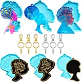 6 Pieces Afro Lady Keychain Resin Molds Female Head Epoxy Casting Molds, DIY Keychain Silicone Molds with 6 Pieces Key Rings for Epoxy Hanging Crafts Jewelry Making Supplies