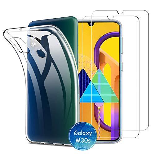 iLieber Samsung Galaxy M21 / M30s Hülle Panzerglas, [Hülle + 2 Panzerglas] Schutzhülle Silikon Hülle Cover TPU Transparent Crystal mit [Ultra Dünn] Schutzfolie Folie Glas für Samsung Galaxy M30s / M21