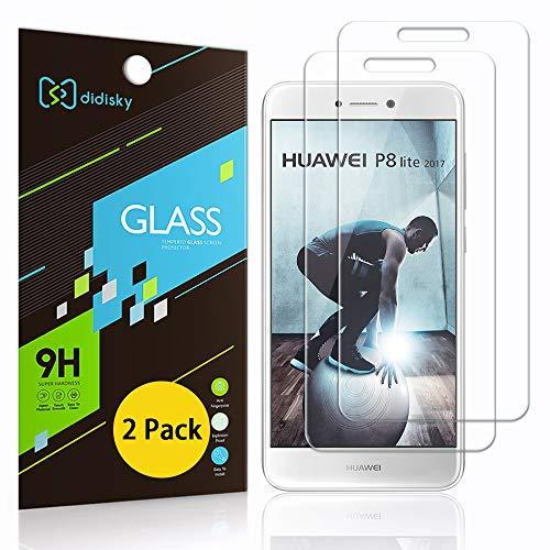 Didisky Pellicola Protettiva in Vetro Temperato per Huawei P8 Lite 2017, [2 Pezzi] Protezione Schermo [Tocco Morbido ] Facile da Pulire, Facile da installare, Trasparente