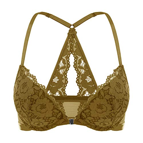 DOBREVA Women's Floral Lace Back Front Closure Padded Push Up Underwire Bra Plunge Coffee Liqueur 32AA