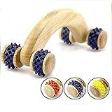 4 ruedas de madera rodillo de masaje doméstico masajeador de acupresión rodillo de madera curvada mano cuerpo cuello hombro músculo relajación cuerpo completo masaje herramienta