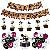 Babioms Artículos de Fiesta para Harry Potter, Cumpleaños Decoracion de Fiesta Mago Estandarte de Cumpleaños globo Cupcake Toppers, Mago Cumpleaños Fiesta Decoracion Temática