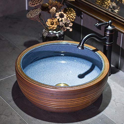 Kunst über Theke Becken runde Linie mediterrane Keramik Waschbecken Waschbecken