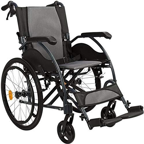 Opvouwbare zelfrijdende rolstoelen, lichte aluminium rolstoel met afneembare voetsteunen en handrem voor ouderen, gehandicapte en gehandicapten, gewicht slechts 11,6 kg