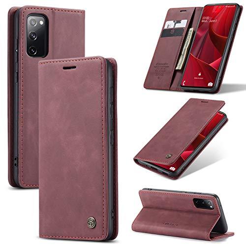 Para Samsung Galaxy S20 FE Folio Case, Estuche Tipo Billetera De Cuero Con Cierre Magnético Retro, Cubierta De Teléfono Inteligente De Protección Completa De TPU A Prueba De Golpes Co(Color:VINO ROJO)