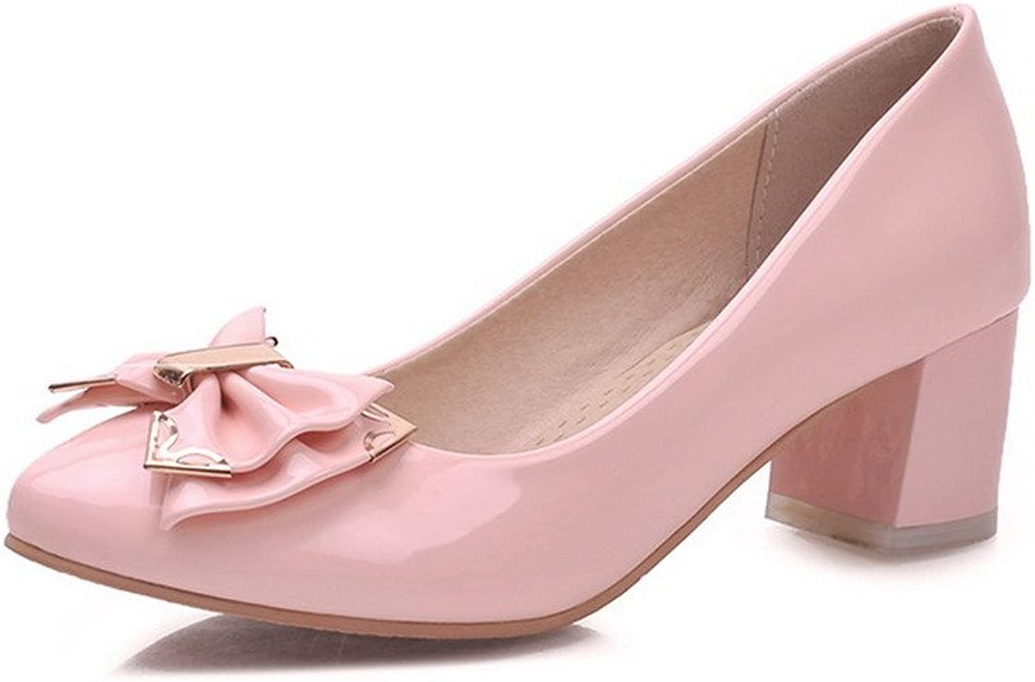 WeenFashion Women's Pull On Pointed Closed Toe Kitten Heels Patent Leather Solid Pumps-shoes