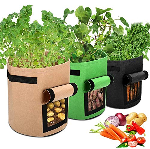 Bolsa de Cultivo de Plantas, 3 x 7 Gallones Maceta de Cultivo de Patatas, Macetas de Tela con Asas - No Tejidos & Transpirables & Degradables - Saco para Plantas de geotextil para Flores y Verduras