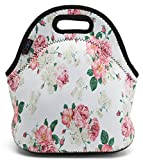ICOLOR Beautiful Flowers Neoprene Lunch Tote Bag, Thermal School Lunch Tote Bag, Lunch Box & Food Container, Insulated Soft Lunchbox, Food Storage Cooler - Great Gift for Boys,Girls (HST-LB-053)