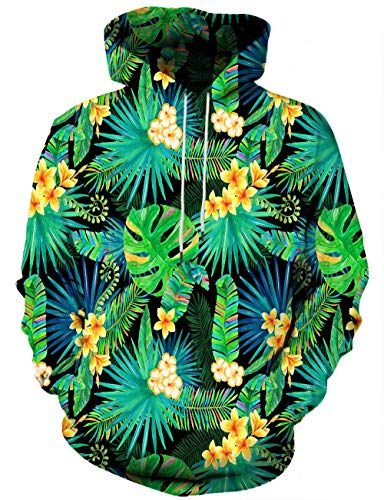 Unisex 3D Novelty Hoodies for Men Women Cool Graphic Pullover Sweatshirts with Pockets-Flowers-Small