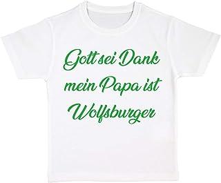 clothinx Gott Sei Dank, Mein Papa ist Wolfsburger, Lustiges Fussballmotiv Kinder Bio T-Shirt