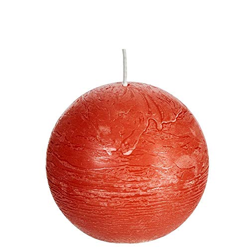 Spaas 6 Rustic Unscented Ball Candles 80 mm, ± 24 hours-ginger orange, Paraffin wax, D x H