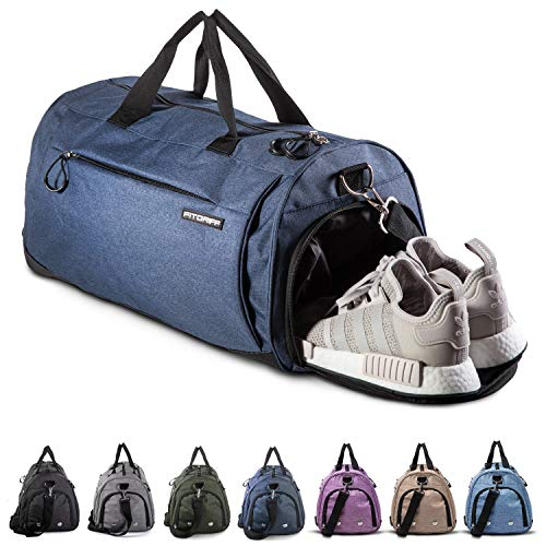 Fitgriff® Sporttasche Reisetasche mit Schuhfach & Nassfach - Männer & Frauen Fitnesstasche - Tasche für Sport, Fitness, Gym - Travel Bag & Duffel Bag 58cm x 31cm x 31cm [50 Liter] (Blue, Medium)