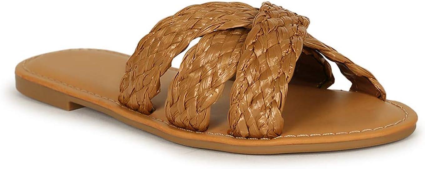 Bamboo Woven Straw Open Toe Slide Sandal 20197 - Tan Raffia (Size: 7.0)