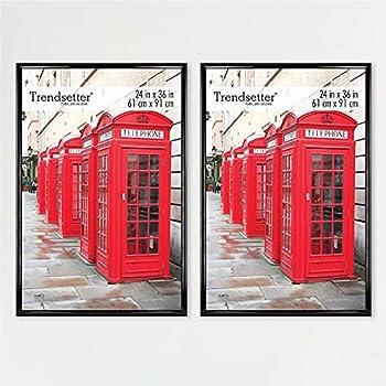MCS Trendsetter Poster Back-Loading Wall Art & Puzzle Frame 24 x 36 in Black 2 Pack