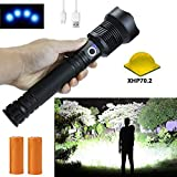 Rechargeable Flashlights High Lumens, 90000 Lumens Super Bright Led Flashlight Powerful Tactical Flashlight with Batteries Included, Zoomable, 3 Modes, Waterproof Flashlight for Emergencies, Camping