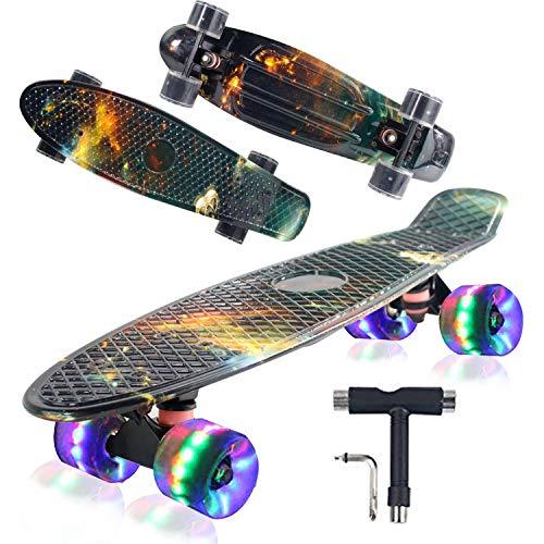 Geelife 55,9 cm komplettes Mini Cruiser Skateboard für Anfänger Jugendliche Mädchen Jungen mit LED Rädern (Nacht)