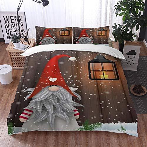 Qinniii 3-Piece Bedding Set,Gnomo Carino Elfi folcloristici di Natale alla Moda,100% Microfibra 1...