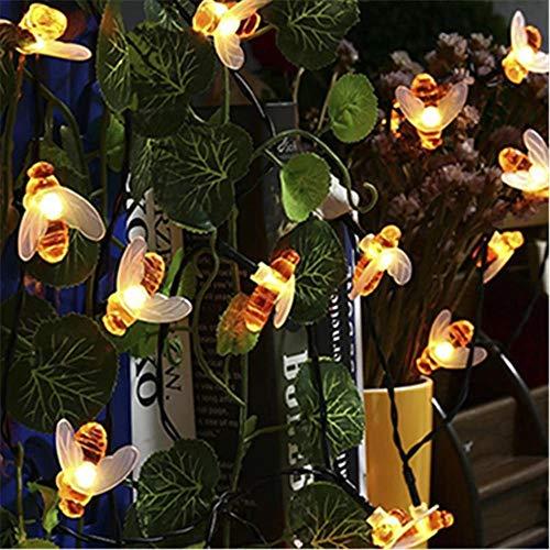 Luz de hadas de cadena LED de abeja linda con energía solar 10M 50 leds de abeja al aire libre valla de jardín Patio luces de guirnalda de Navidad