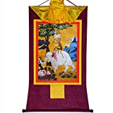 Gandhanra Arte Thangka Budista Thangka Tibetano,Cuatro hermanos animales armoniosos(elefante,mono,liebre,pájaro),Tapiz de Buda Tibetano,Budismo Pintura de Desplazamiento,Zen Meditación Decoracion