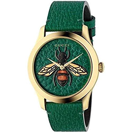 Yellow gold PVD case, emerald green leather dial with bee, emerald green leather strap Ronda quartz movement Water resistance: 5 ATM (160 feet/50 meters) Wrist size adjustable from 150mm to 192mm Swiss Made and two year international warranty
