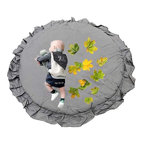 Pueri Kinder Baby Spielmatte Runde Teppich Kriechmatte Spielzelte Dekoration fürs Kinderzimmer (Grau)