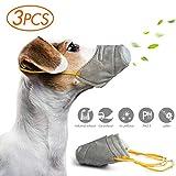 gudong Máscara 3pcs para Perro, PM2.5 Anti Niebla/Polvo/máscara Ajustable, Reutilizable Soft Pet Anti Dust Mask Bozales Protectores (Gris Size M)