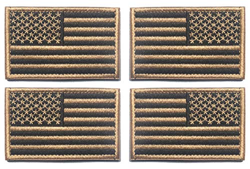 Antrix 4 Stück Coyote Brown Regular & Reversied American US USA Flagge bestickt Patch Taktisch Military United States of America Uniform Applique Hook und Loop Badge Emblem für Rucksäcke Cap Weste