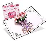 Muttertagskarte,Deesos Papier Spiritz Muttertag,Geburtstagskarte für Mama Special, 3D Pop-up-Grußkarte mit schönen Papier-Cut, Bestes Geschenk für Mama Geburtstag, inklusive Umschlag (Nelke)