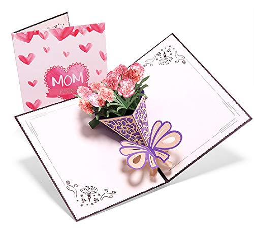Muttertagskarte,Deesospro® Papier Spiritz Muttertag,Geburtstagskarte für Mama Special, 3D Pop-up-Grußkarte mit schönen Papier-Cut, Bestes Geschenk für Mama Geburtstag, inklusive Umschlag (Nelke)