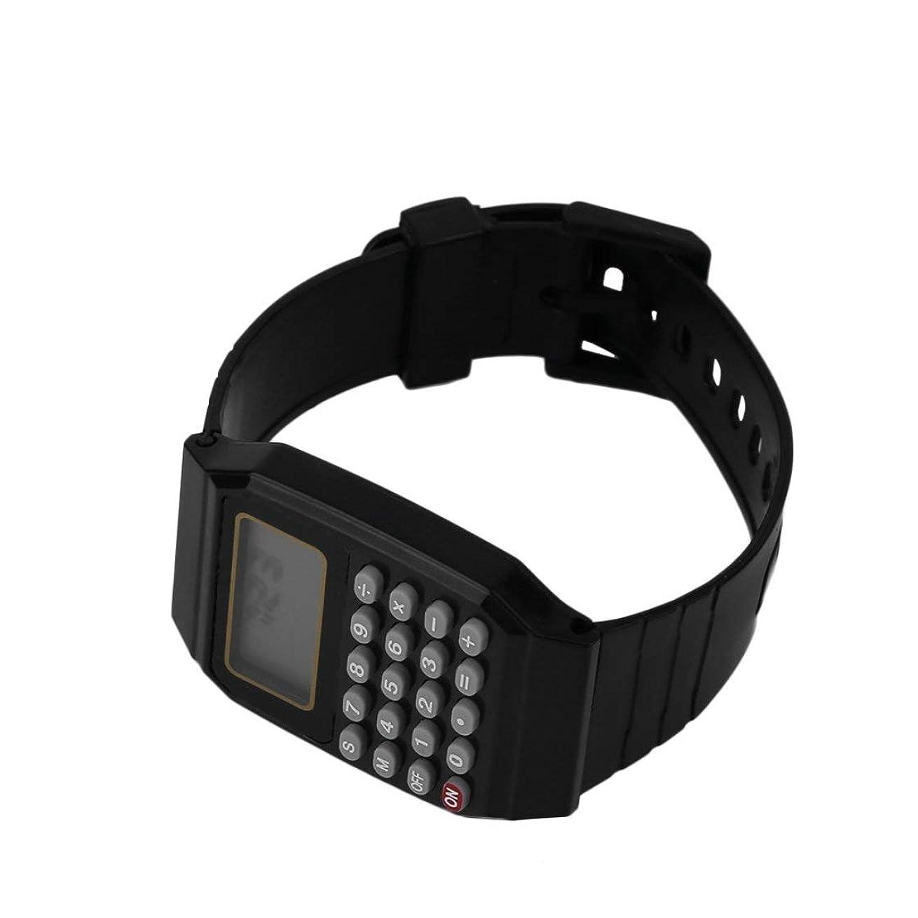 経験者食欲重荷実用的な子供学生電卓デジタル腕時計単色シリコーン快適な摩耗電卓腕時計子供のため (Rustle666)