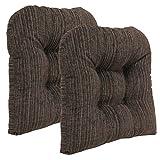 Klear Vu Polar Overstuffed Universal Tufted No Slip Dining Chair Pads, 17' x 17', 2 Pack, Chocolate 2 Count