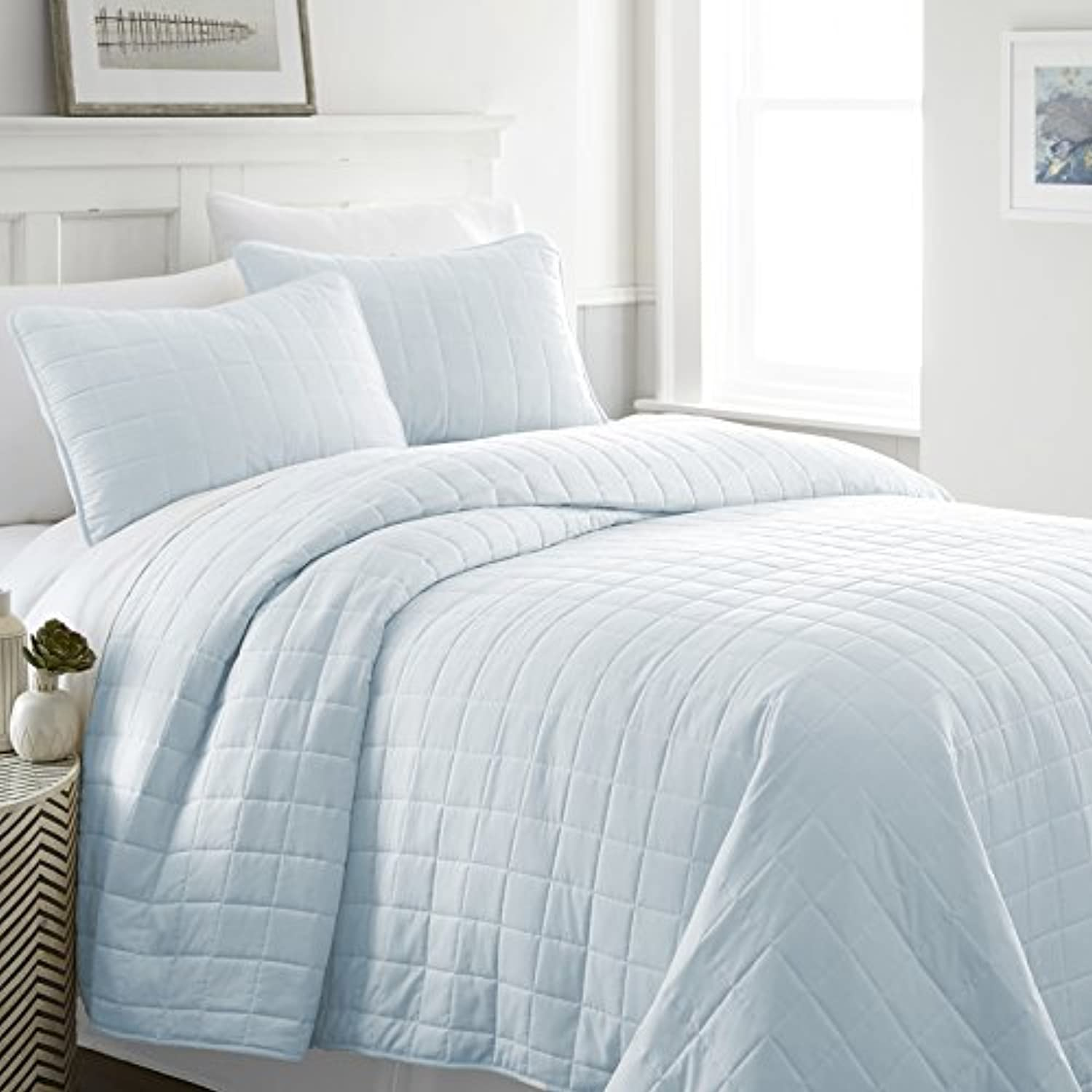 Simply Soft Quilted Coverlet Set Square Patterned , Queen Full, Pale bluee