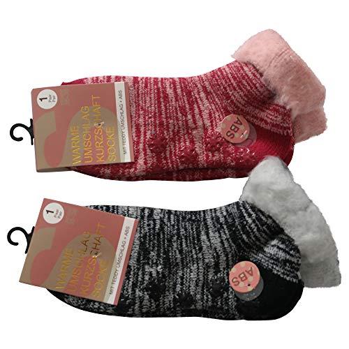 Lieblingsstrumpf24 2 Paar Damen Umschlag Teddy ABS Home Socken Noppensocken Kurzschaft (39-42, Schwarz+ Rot)