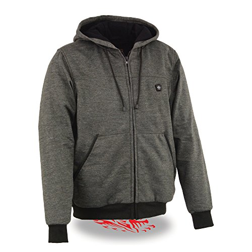 Milwaukee Performance Textile-Men's Zipper Front Heated Hoodie w/ Front & Back Heating Elements Portable Battery Pack Included-GREY-LG 1713