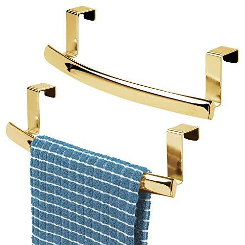 mDesign Barra para colgar paños de cocina – Colgador de cocina para colgar de puertas de armarios – Toallero de baño en metal con revestimiento resistente a corrosión – Juego de 2 – dorado latón