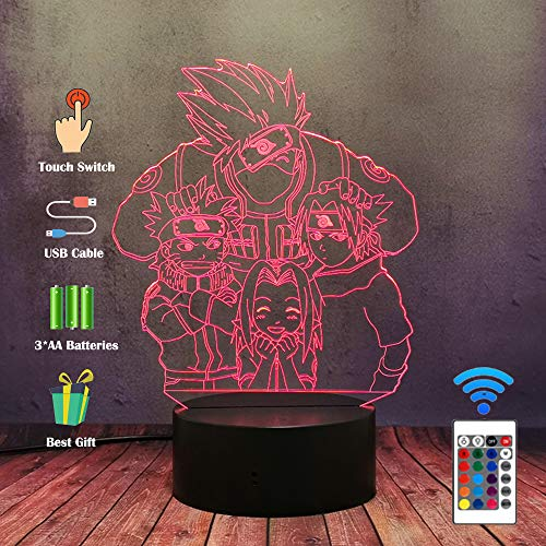 Naruto Anime LED Nachtlicht, Kakashi Itachi Sasuke Hatake Nara Shikamaru Ninja 16 Farben Schreibtischlampe, Kinderzimmer Nachtlampe, Manga Figuren 3D Acryl Tischlampe, Kinder Geburtstagsgeschenk