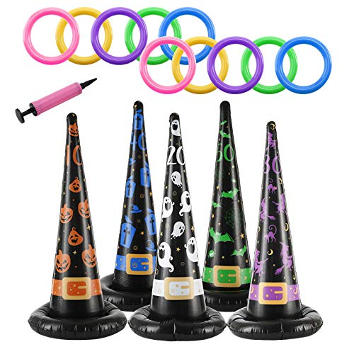 Fineday Halloween Them Toys Jumping Meters Inflatable Witch Hat Ring Toss Games, Home Products for Christmas Day (Multicolor)