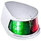 Red Green LED Marine Navigation Bow Light for Boats [USCG ABYC A-16 2NM][IP67 Waterproof][Chrome & ABS] 2 Nautical Mile Visibility Bicolor Navigation Boat Light for Pontoon Yacht Fishing Boat