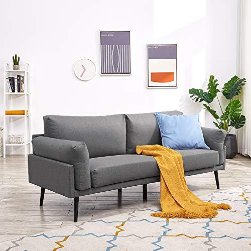 Vonanda Sofá moderno de tela de lino transpirable de 74 pulgadas, sofá de 3 plazas con patas de metal duraderas y reposabrazos cómodo para sala de estar o apartamento, gris oscuro