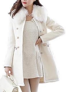FSSE Women Winter Overcoat Faux Fur Collar Wool Blend Pea Coat Jacket