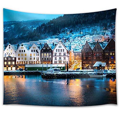 Vista Nocturna en Bergen Noruega Tela Tapiz de Pared Mantel hogar y Sala de Estar decoración de Pared 150x130cm