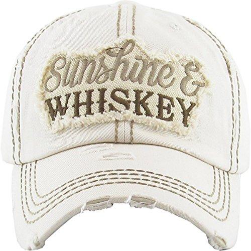 H-212-WHISKEY60 Distressed Dad Hat Baseball Cap - Sunshine/Whiskey (Beige)