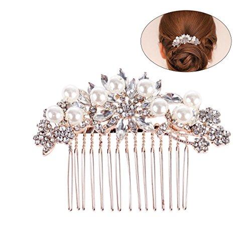Frcolor Braut Haar Kamm Simulierte Perle Hochzeit Braut Haar Kamm für Hochzeit Haarschmuck (Rose Gold)