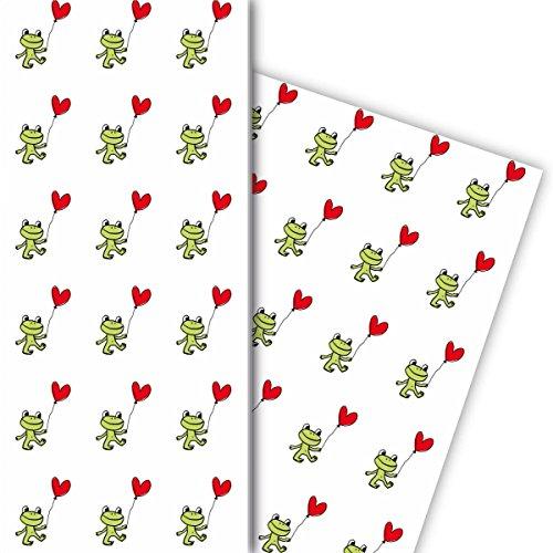 Liefde cadeaupapier set (4 vellen) met kikker en hart ballon als geschenkverpakking & verrassing voor doop, geboorte, Pasen, verjaardag, bruiloft, Kerstmis 32 x 48 cm