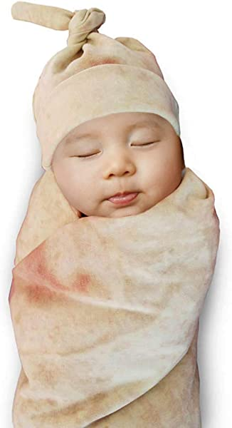 HongYiTime Burrito Wrap Novelty Blanket With Hat For Baby Tortilla Blanket For Baby 33 85cm