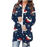 Chaqueta de punto para mujer, larga, elegante, para Navidad, copo de nieve, abierta, con botones, chaqueta de manga larga, para adolescentes, niñas, mujeres, ropa exterior, Z5-negro., XXL