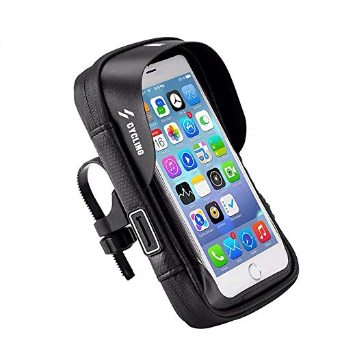 360° Rotatable Bike Phone Mount Bag Waterproof Bicycle Cell Phone Case Holder Touch Screen Handlebar Bag Pouch for iPhone XS Max 8 X Moto G8+ G7 G6 E6 Z4 Galaxy S20 S10 Plus S9 Note 10 A50 LG G8 ThinQ